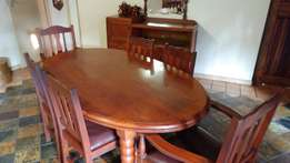 Antique Dining room table x 6 chairs and side board