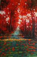 Red Trees palet knife painting