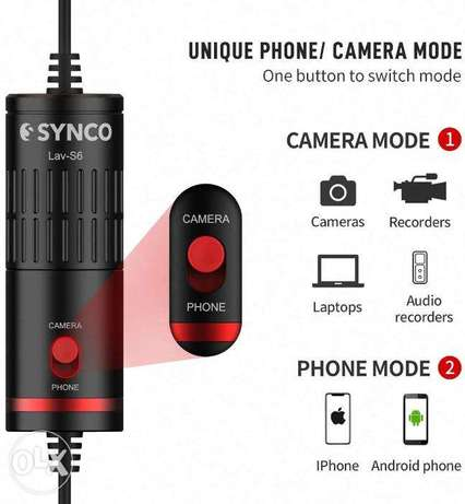 SYNNCO Lav-S6 Clip-on Lavalier Microphone for camera and phone