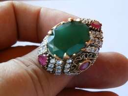 Turkish emerald and ruby huge silver ring.
