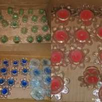 Beautiful colour candles in glass orange / blue / Green