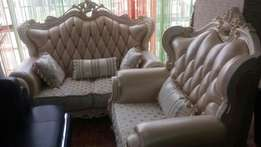 Royal sofa combination of leather and fabric chairs by 7seaters