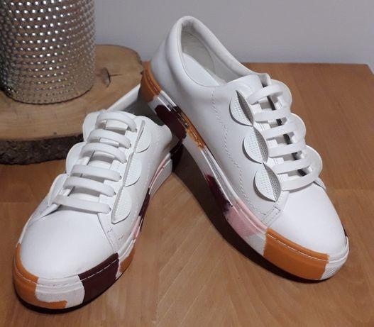 ZARA białe TRAMPKI obuwie sportowe KOLOROWA podeszwa r. 37