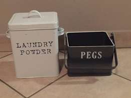 Laundry - washing powder and pegs storage set
