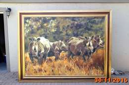 Large Rhino painting by James Straud for sale
