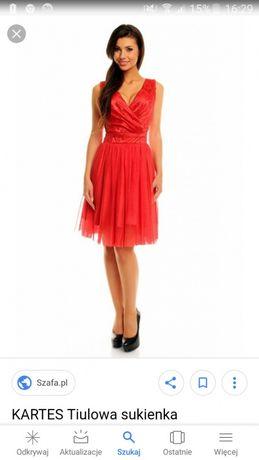 ab867b8b8b Sukienka KARTES czerwona wieczorowa tiul Rozdrażew - image 1