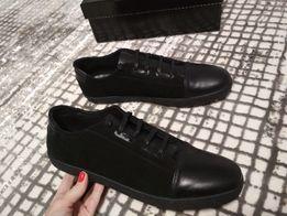 Полуботинки туфли мокасины кеды Кожанные черные Р-р 45 Стелька 30 583e8c92c1a30