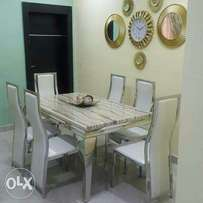Quality Cream animal leg marble by six with six chairs