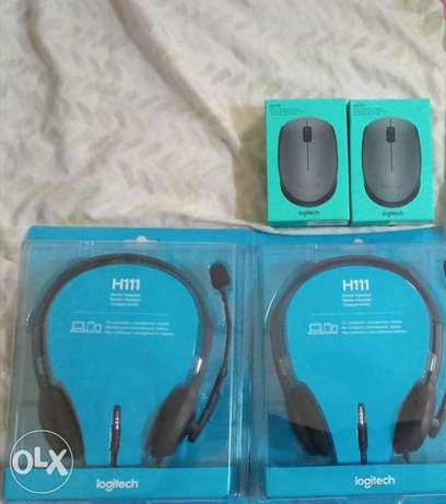 New Logitech M170 wireless mouse and logitech H111 stereo headset