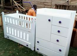White with purple handles baby bed and baby wardrobe set