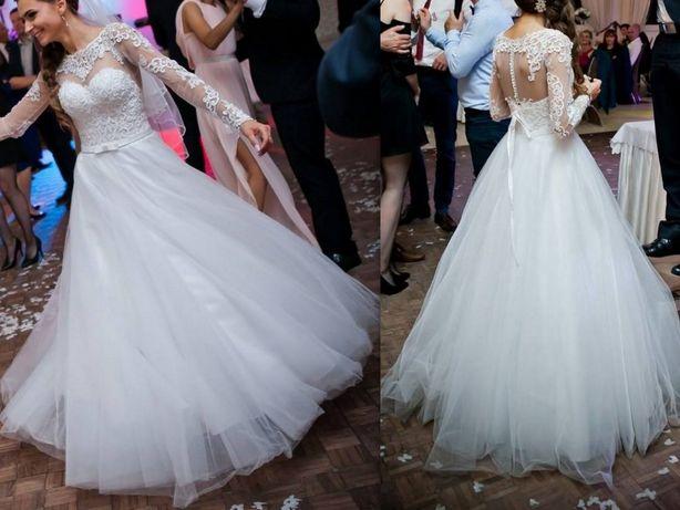 Modne ubrania Suknia ślubna, Madonna, długi rękaw, koronka, rękaw, tiul, xs OG32