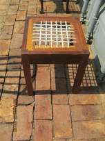 Old Kiaat(Teak) Riempie stool.