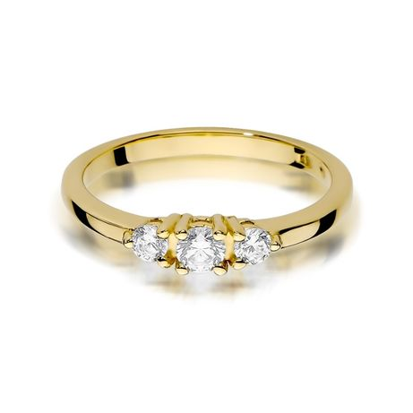 Zaręczynowy Pierścionek Z Brylantami żółte Białe Złoto Grawer Gratis