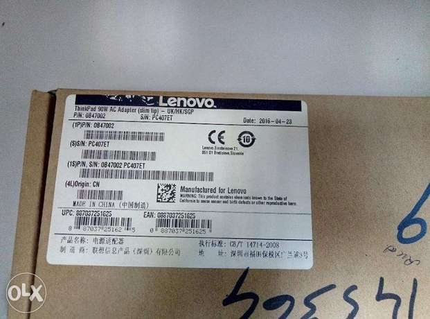 Lenovo Adapter Original New With Power Cord Not Use