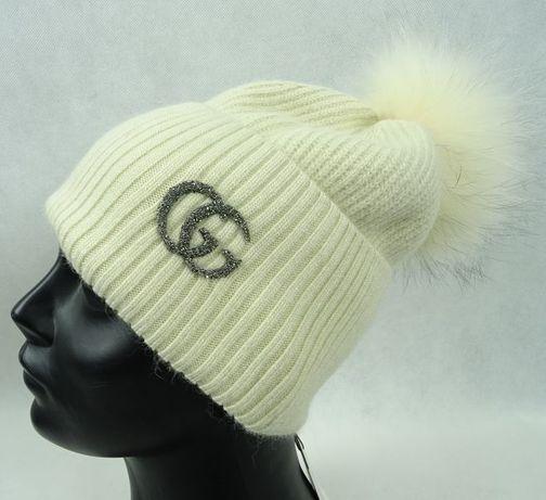 eee22fce4f18a wełniana czapka czarna szara popielata beżowa futro pompon logo Gucci  Wrocław - image 7