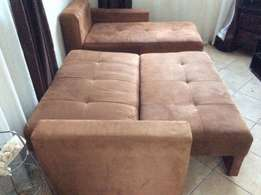 Brown Suede L Shaped Sleeper Couch