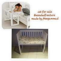 White wooded cot for sale