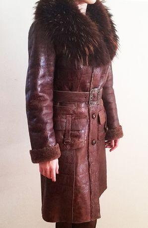 Натуральная дубленка с енотом, кожаное пальто, женская дубленка Харьков -  изображение 1 f24422e65f0