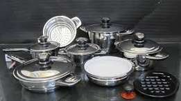 Leopard 16 PC Stainless Steel Cookware Set with Thermostat lids