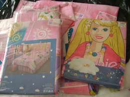 Barbie curtains (2x) + single bed cover (1x) + pillow cover (1x)
