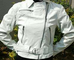 Tiger of Sweden white leather jacket small