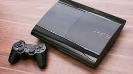 Chipped playstation 3 superslim very clean with both pads and games