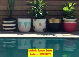 Beautifully decorated flower pots.