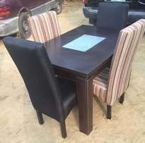 Stripe And Coffee Four Seater Fabric Dinning Set.