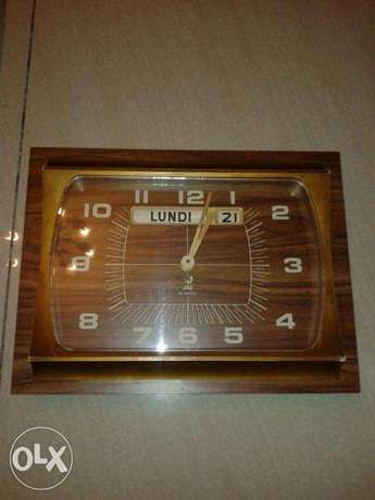 jaz wall clock + calendar vintage made in france working perfectly