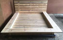 Box bed with headboard Cottage Elegant series Queen size - Raw