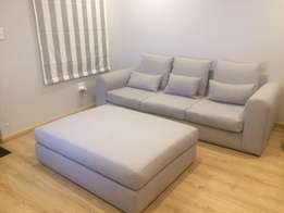 Grey couch and ottoman for sale