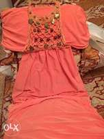 Pink orange wonderful dress. size small فستان زهري