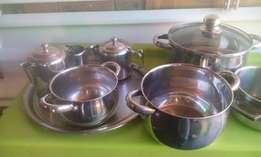stainless steel pots and tea set