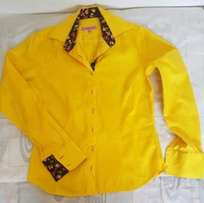 Yellow ladies designer shirt with floral print