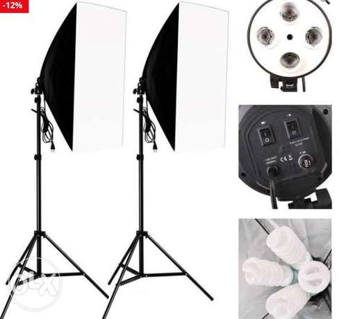 SoftBox Photo Studio Kit Photography Lighting 2PCS*4 Socket Lamp