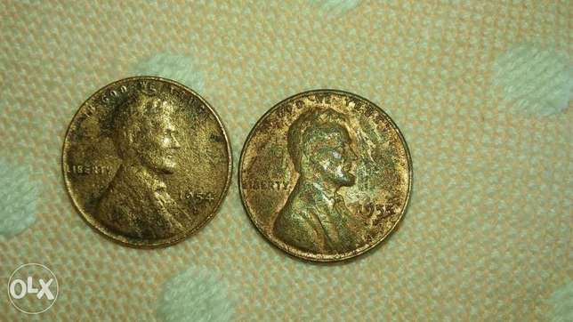 Two USA Lincoln Wheat Cents 1954 D & 1955 D