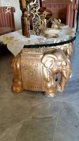 Elephent sitting room guality +tow elephant glass table 2 cm