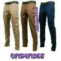 Slim fit khaki trousers for men.