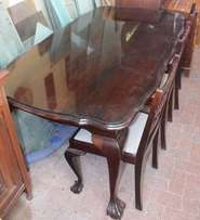 Solid Imbuia Table with Glass Top x 6 Chairs - R4,900.00