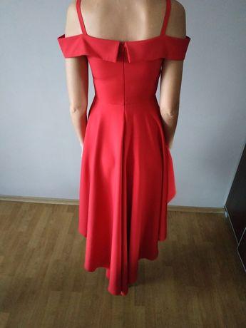 Czerwona sukienka asymetryczna na studniówkę, sylwester