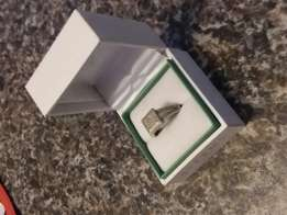 Silver with diamond ring