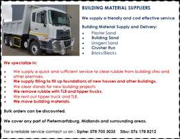 Building Material Supply and delivery,BULK Rubble removal