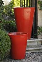 Red pots with plants
