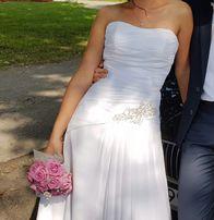e664e75548 Suknia sukienka elegancka delikatna ślubna Biała 36