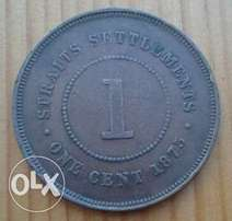 Straits Settlements 1875 1c coin,nice