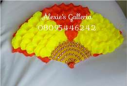 "Brides n Queens ""Allure Radiant"" Yellow Red Roses Bridal Hand-fan"