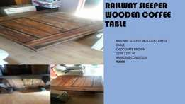 Railway sleeper wooden coffee table