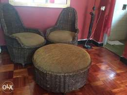 Sofa; padded hyacinth; 7-seater, 2 round footstools & coffeetable;