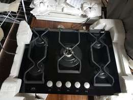 AEG glass 5 burner gas hob