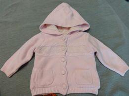 d29c86969 Вязанная теплая розовая на меху куртка кофта на девочку 3-6 месяцев